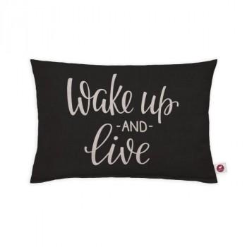 "Cuscino aromatizzato ""wake up and live"" 30x20"