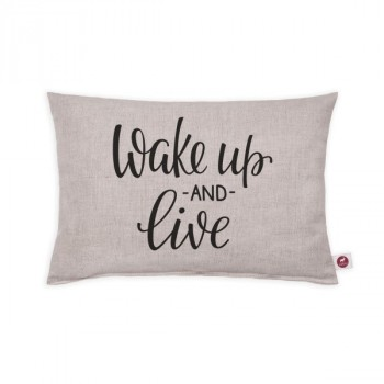 "Cuscino aromatizzato ""wake up and live white"" 30x20"