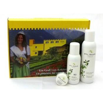 shampoo doccia 200ml BIO, olio per massaggio 125ml BIO, balsamo  labbra 9ml BIO