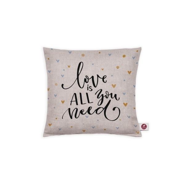 "Cuscino aromatizzato ""love is all you need"" 20x20"